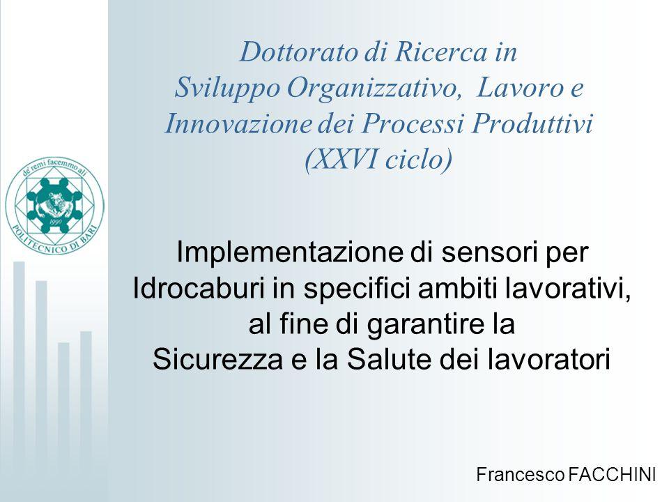 Dottorato di Ricerca in Sviluppo Organizzativo, Lavoro e Innovazione dei Processi Produttivi (XXVI ciclo) Implementazione di sensori per Idrocaburi in