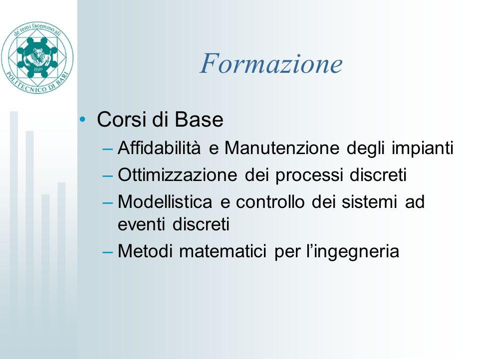 Formazione Corsi di Base –Affidabilità e Manutenzione degli impianti –Ottimizzazione dei processi discreti –Modellistica e controllo dei sistemi ad ev