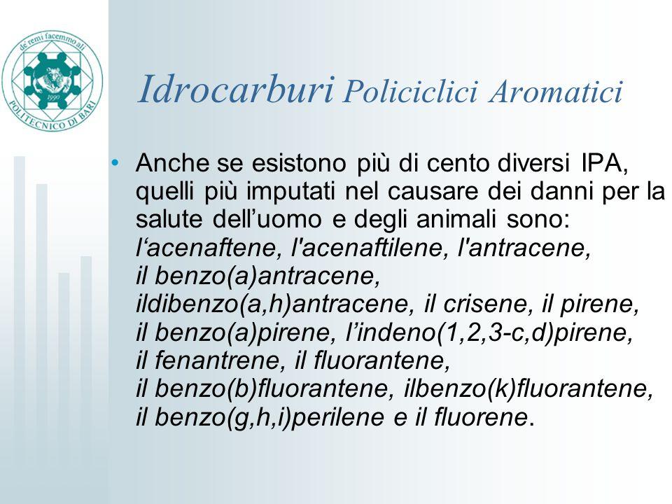 Idrocarburi Policiclici Aromatici Anche se esistono più di cento diversi IPA, quelli più imputati nel causare dei danni per la salute delluomo e degli