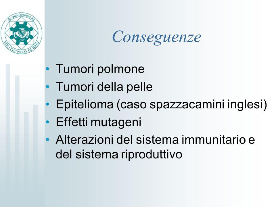Conseguenze Tumori polmone Tumori della pelle Epitelioma (caso spazzacamini inglesi) Effetti mutageni Alterazioni del sistema immunitario e del sistem