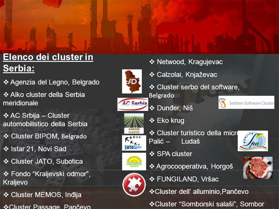 Elenco dei cluster in Serbia: Agenzia del Legno, Belgrado Alko cluster della Serbia meridionale AC Srbija – Cluster automobilistico della Serbia Clust