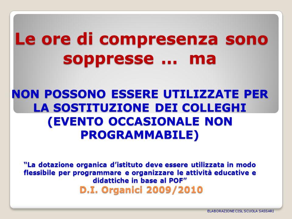 Le ore di compresenza sono soppresse … ma NON POSSONO ESSERE UTILIZZATE PER LA SOSTITUZIONE DEI COLLEGHI (EVENTO OCCASIONALE NON PROGRAMMABILE) La dotazione organica distituto deve essere utilizzata in modo flessibile per programmare e organizzare le attività educative e didattiche in base al POF D.I.