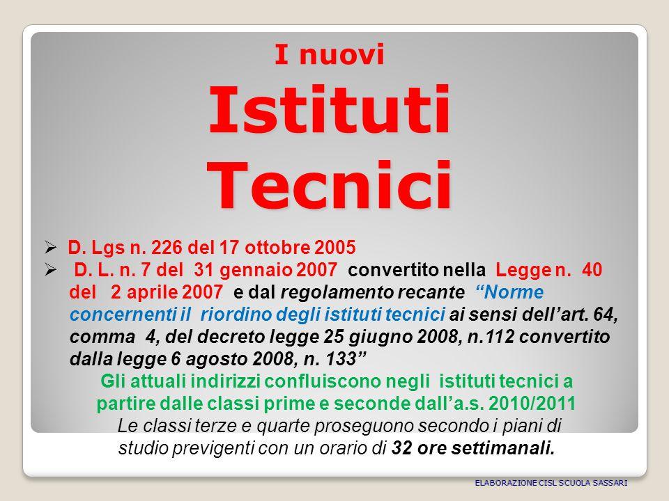 I nuovi Istituti Tecnici D. Lgs n. 226 del 17 ottobre 2005 D.