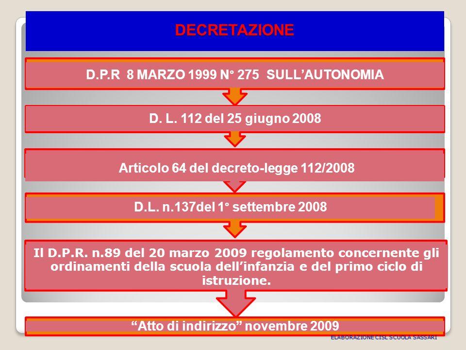 DECRETAZIONE D.P.R 8 MARZO 1999 N° 275 SULLAUTONOMIA D.