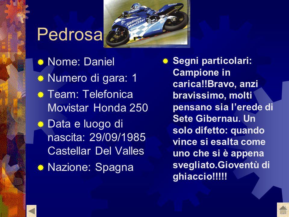 Dovizioso Nome: Andrea Numero di gara: 34 Team: Scot Moto: Honda Data e luogo di nascita: 23/03/1986, Forlimpopoli Nazione: Italia Segni particolari: