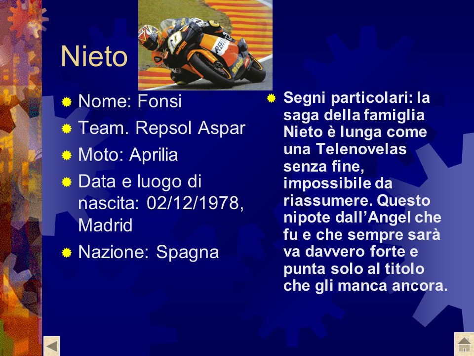 De Puniet Nome: Randy Numero di gara: 7 Team: Safilo Carrera LCR Moto: Aprilia Data e luogo di nascita: 14/02/1981, Andresy Nazione: Francia Segni par