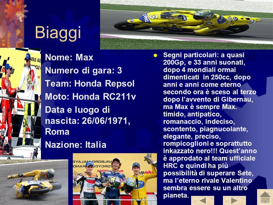 Gibernau Nome: Sete Numero di Gara: 15 Team: Telefonica Movistar Gresini Moto: Honda Rc211v Luogo e data di nascita: 15/12/1972, Barcellona Nazione: S