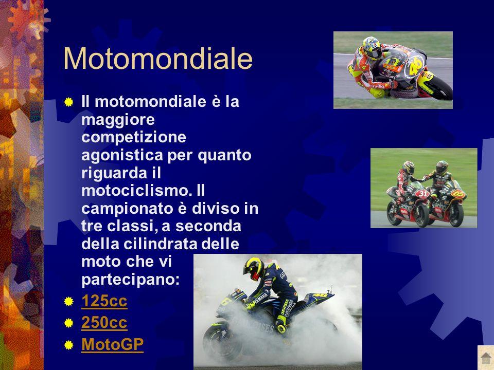 Motomondiale Il motomondiale è la maggiore competizione agonistica per quanto riguarda il motociclismo.