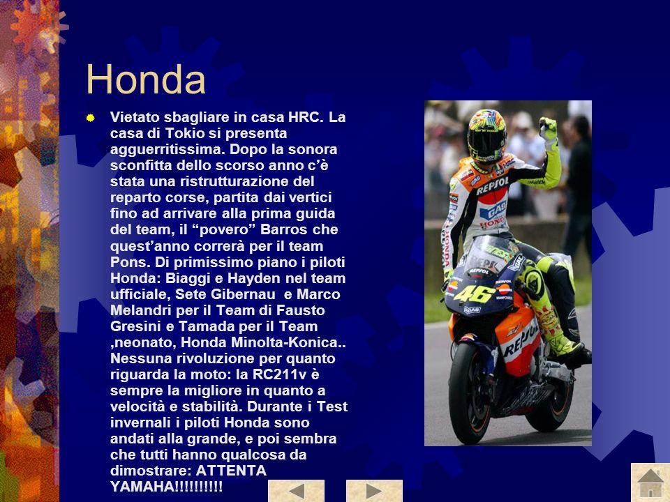 Yamaha E il riferimento per il 2005, perché la M1 è la moto da battere. Questanno è più veloce più stabile e anche più bella. La moto sarà portata in