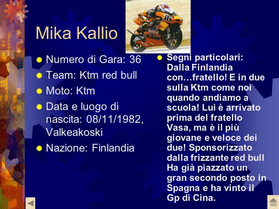 Mika Kallio Numero di Gara: 36 Team: Ktm red bull Moto: Ktm Data e luogo di nascita: 08/11/1982, Valkeakoski Nazione: Finlandia Segni particolari: Dalla Finlandia con…fratello.