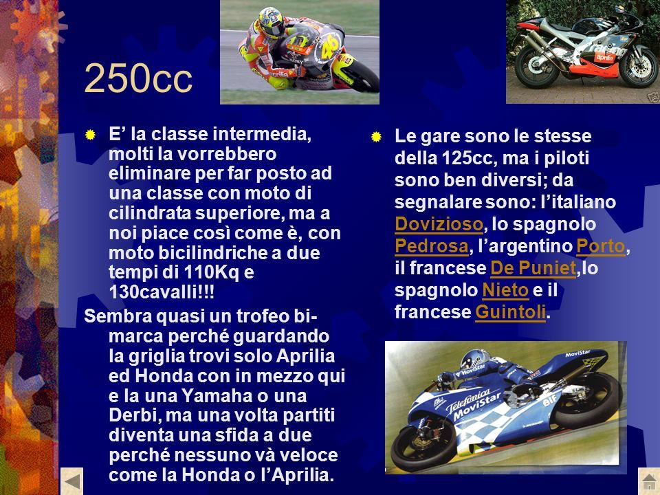 250cc E la classe intermedia, molti la vorrebbero eliminare per far posto ad una classe con moto di cilindrata superiore, ma a noi piace così come è, con moto bicilindriche a due tempi di 110Kq e 130cavalli!!.