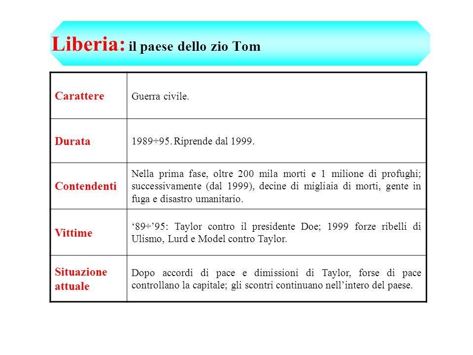 Liberia: il paese dello zio Tom Carattere Guerra civile.