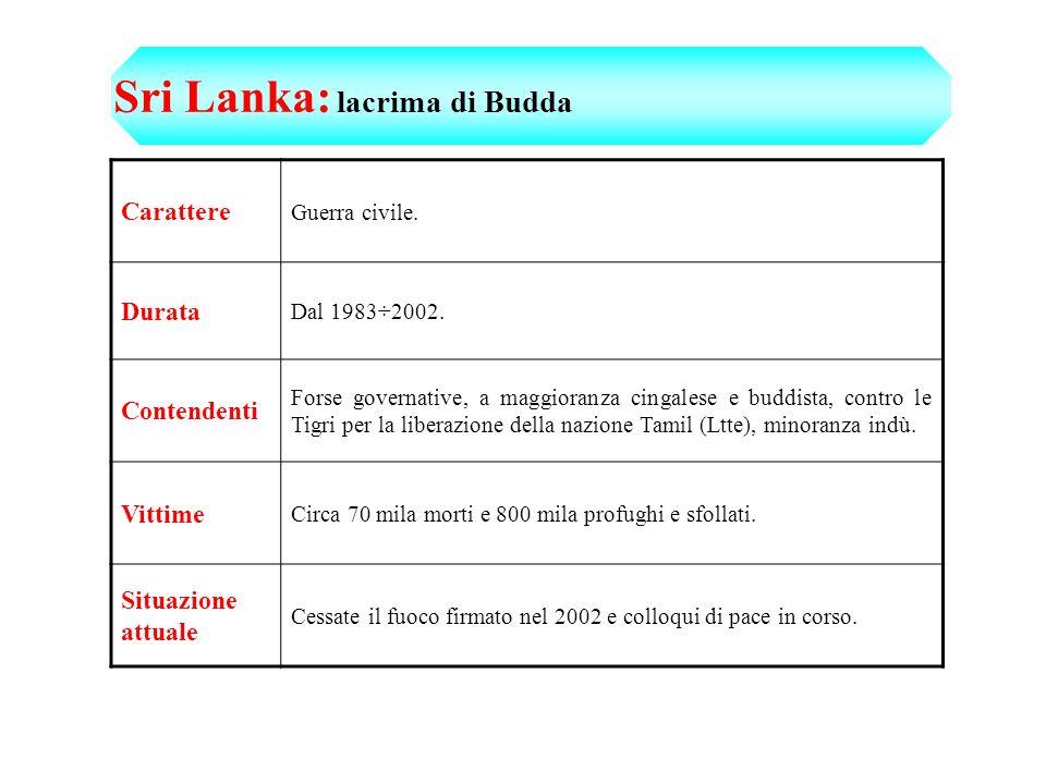 Sri Lanka: lacrima di Budda Carattere Guerra civile.