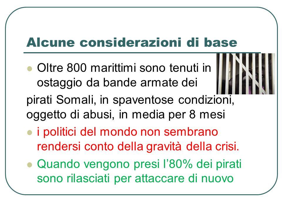 Alcune considerazioni di base Oltre 800 marittimi sono tenuti in ostaggio da bande armate dei pirati Somali, in spaventose condizioni, oggetto di abusi, in media per 8 mesi i politici del mondo non sembrano rendersi conto della gravità della crisi.