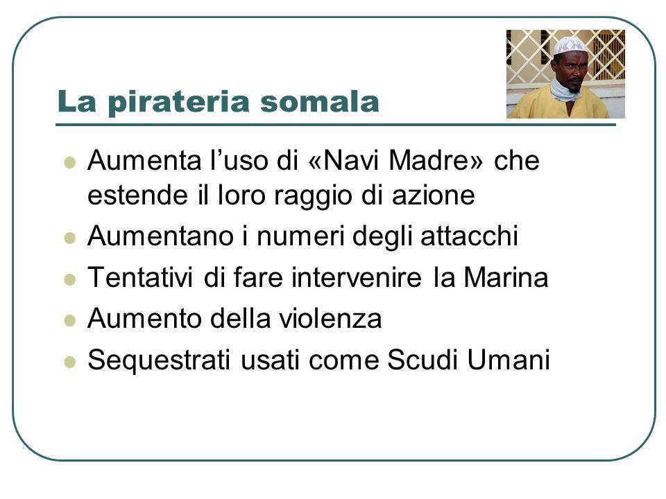 La pirateria somala Aumenta luso di «Navi Madre» che estende il loro raggio di azione Aumentano i numeri degli attacchi Tentativi di fare intervenire la Marina Aumento della violenza Sequestrati usati come Scudi Umani