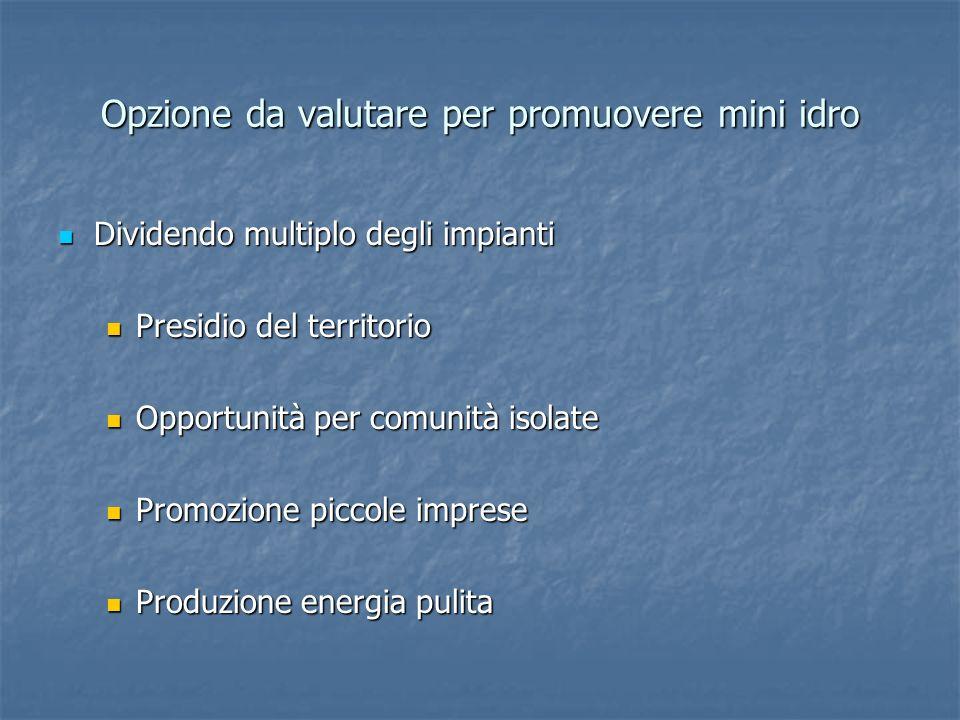Opzione da valutare per promuovere mini idro Dividendo multiplo degli impianti Dividendo multiplo degli impianti Presidio del territorio Presidio del