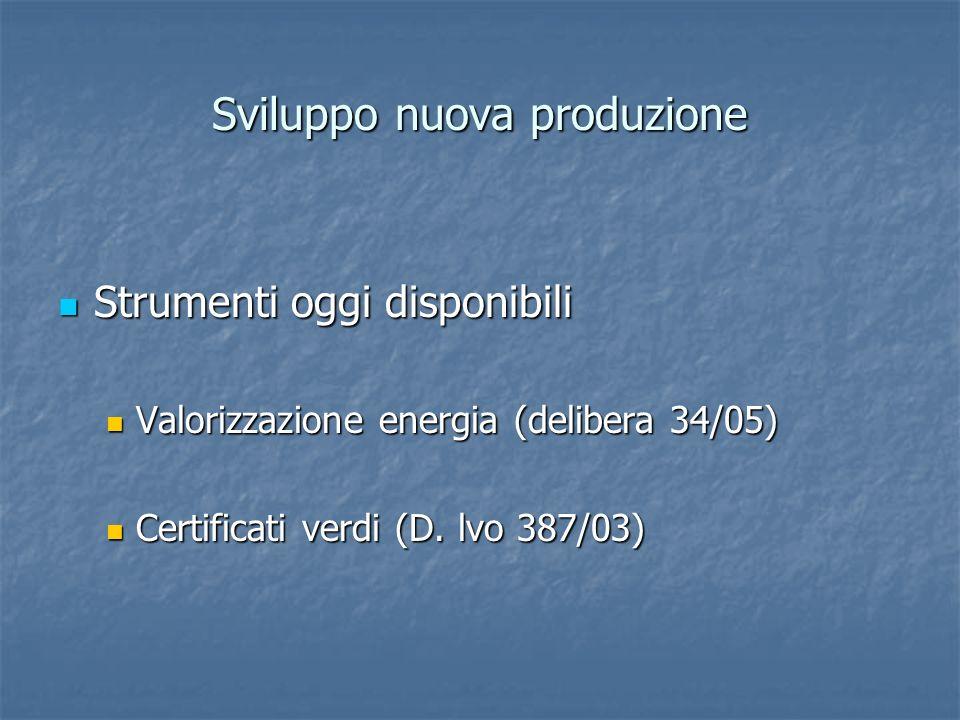 Sviluppo nuova produzione Strumenti oggi disponibili Strumenti oggi disponibili Valorizzazione energia (delibera 34/05) Valorizzazione energia (delibe