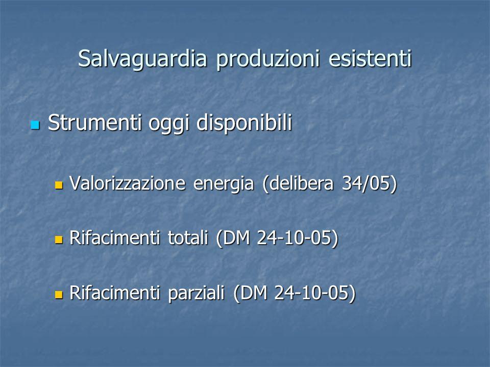 Salvaguardia produzioni esistenti Strumenti oggi disponibili Strumenti oggi disponibili Valorizzazione energia (delibera 34/05) Valorizzazione energia
