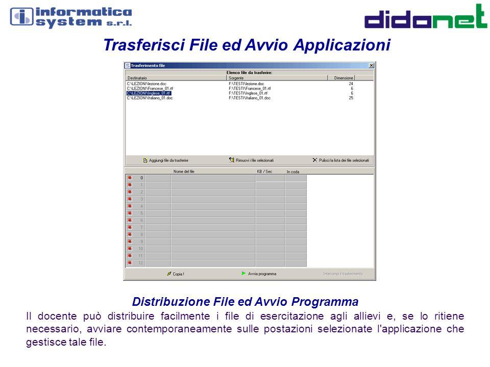 Distribuzione File ed Avvio Programma Il docente può distribuire facilmente i file di esercitazione agli allievi e, se lo ritiene necessario, avviare