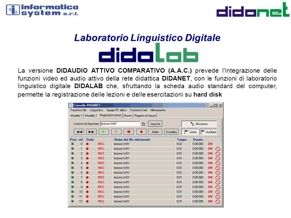 Laboratorio Linguistico Digitale La versione DIDAUDIO ATTIVO COMPARATIVO (A.A.C.) prevede l'integrazione delle funzioni video ed audio attivo della re
