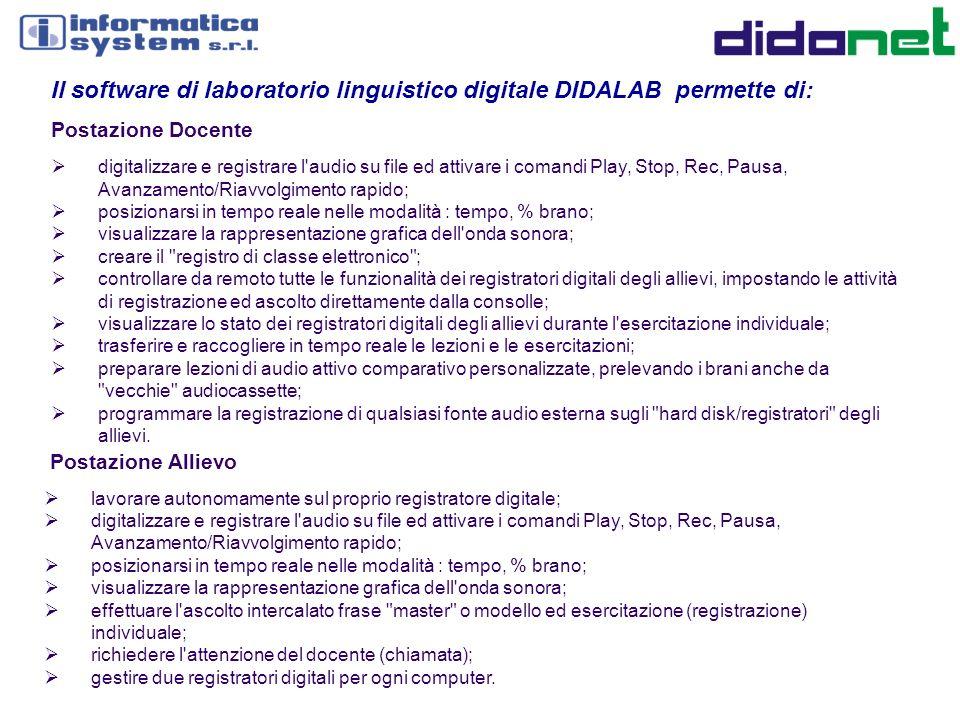 Il software di laboratorio linguistico digitale DIDALAB permette di: Postazione Docente digitalizzare e registrare l'audio su file ed attivare i coman