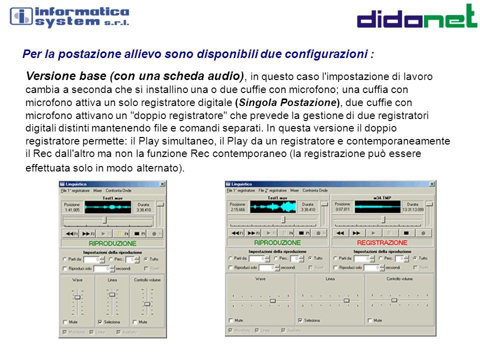 Per la postazione allievo sono disponibili due configurazioni : Versione base (con una scheda audio), in questo caso l'impostazione di lavoro cambia a