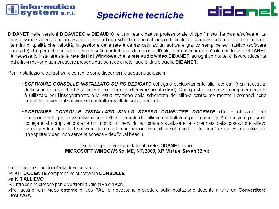 Specifiche tecniche DIDANET nelle versioni DIDAVIDEO e DIDAUDIO, è una rete didattica professionale di tipo