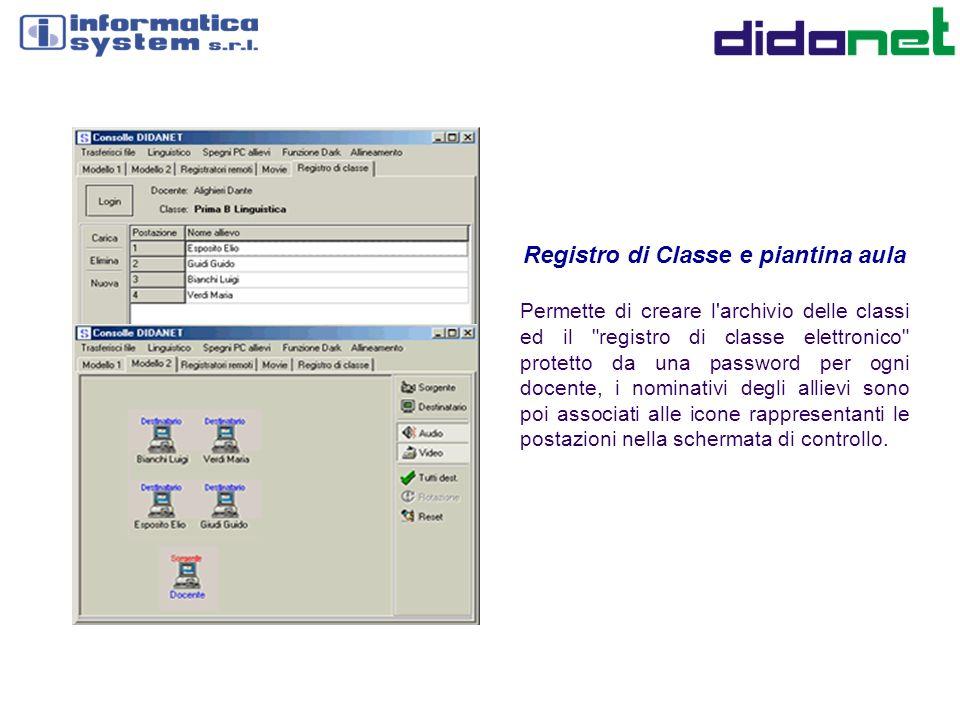Registro di Classe e piantina aula Permette di creare l'archivio delle classi ed il