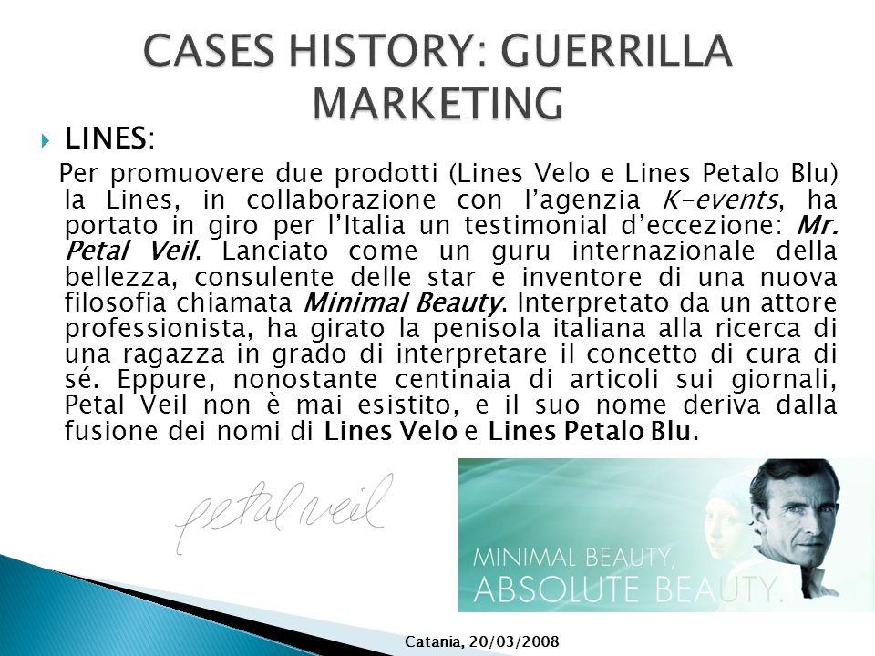 LINES: Per promuovere due prodotti (Lines Velo e Lines Petalo Blu) la Lines, in collaborazione con lagenzia K-events, ha portato in giro per lItalia u
