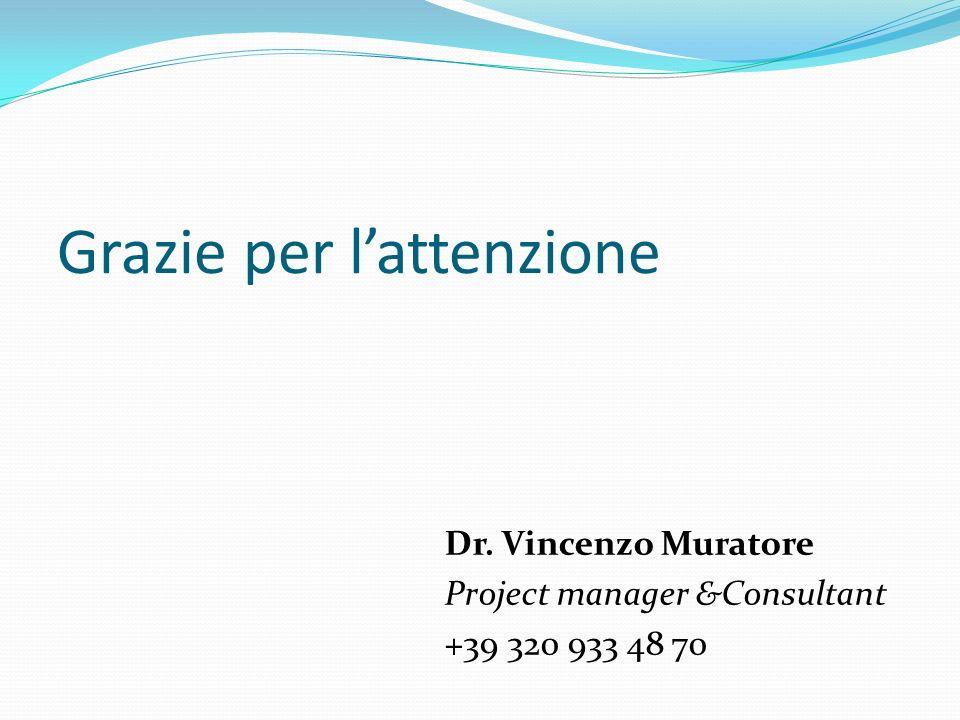 Dr. Vincenzo Muratore Project manager &Consultant +39 320 933 48 70 Grazie per lattenzione