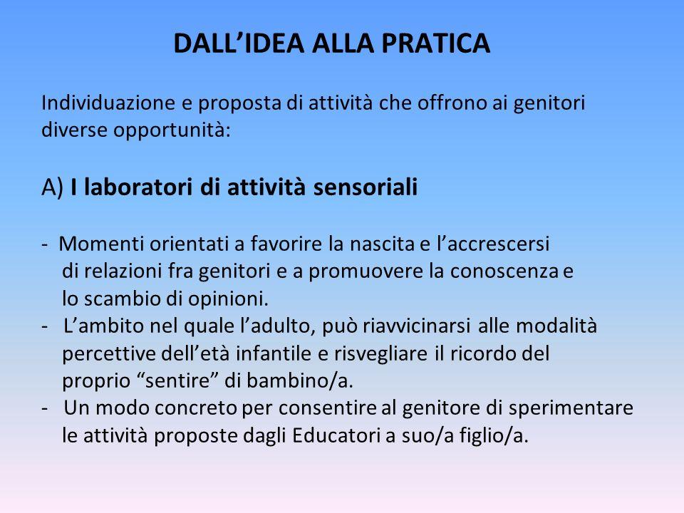 DALLIDEA ALLA PRATICA Individuazione e proposta di attività che offrono ai genitori diverse opportunità: A) I laboratori di attività sensoriali - Mome