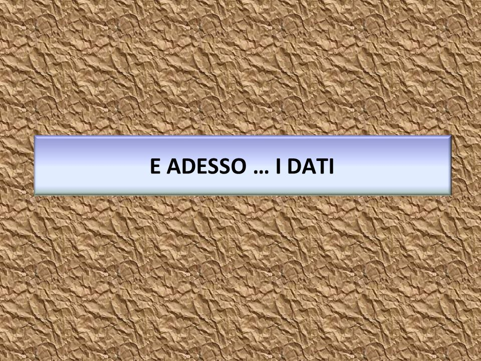 E ADESSO … I DATI