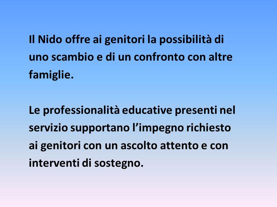 Il Nido offre ai genitori la possibilità di uno scambio e di un confronto con altre famiglie. Le professionalità educative presenti nel servizio suppo