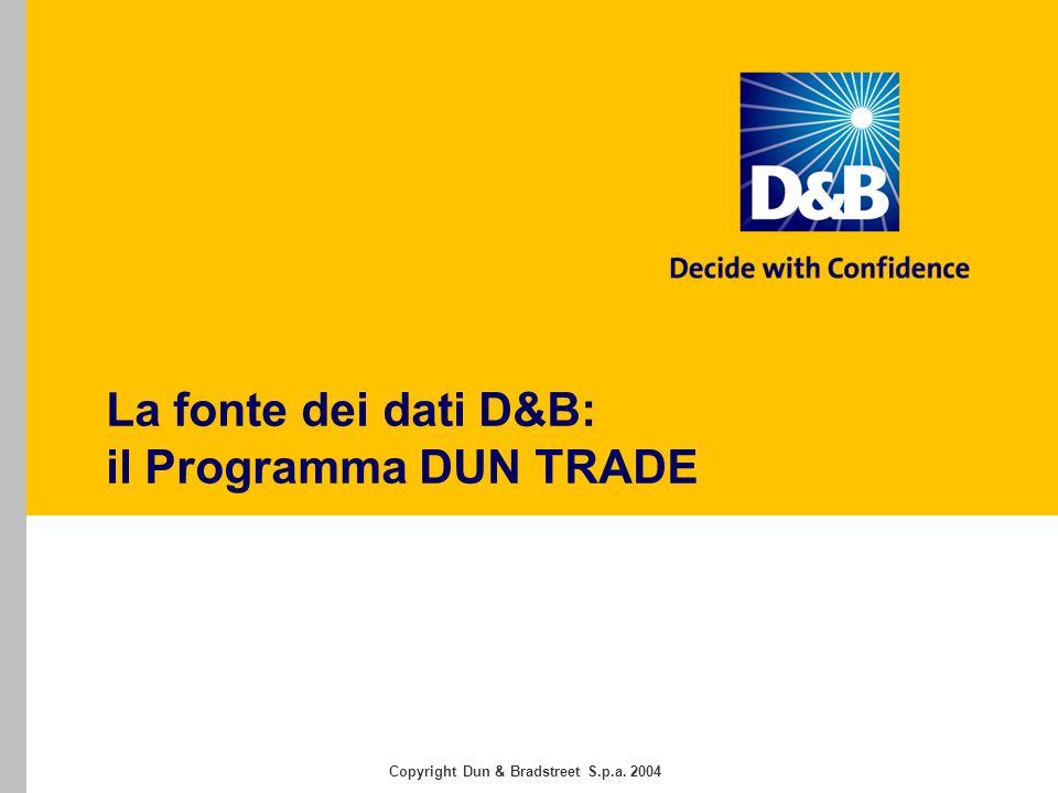 Copyright Dun & Bradstreet S.p.a. 2004 La fonte dei dati D&B: il Programma DUN TRADE