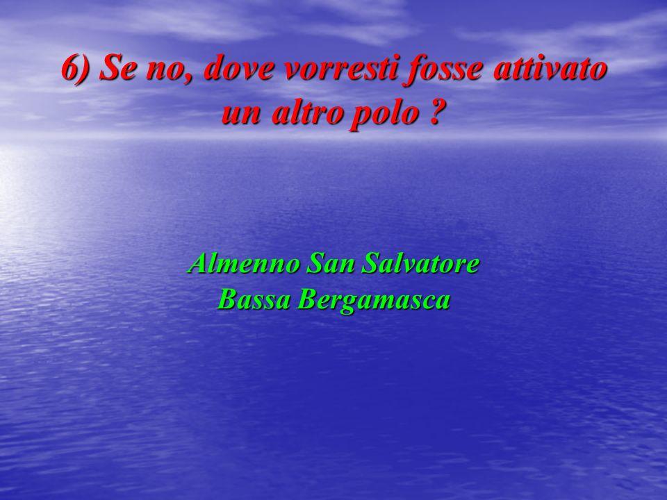 6) Se no, dove vorresti fosse attivato un altro polo Almenno San Salvatore Bassa Bergamasca