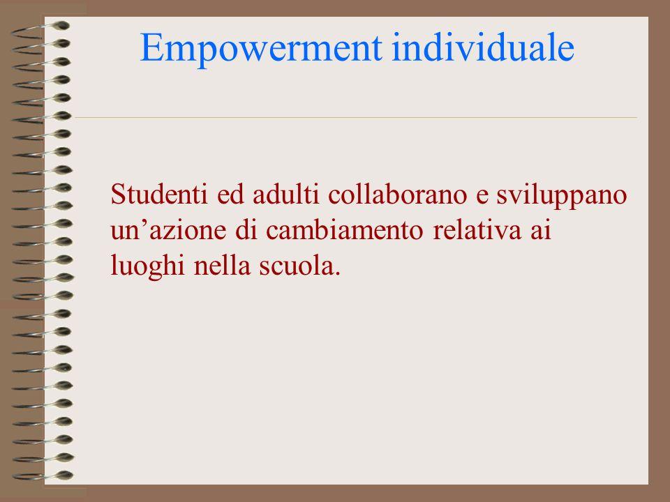 Empowerment individuale Studenti ed adulti collaborano e sviluppano unazione di cambiamento relativa ai luoghi nella scuola.