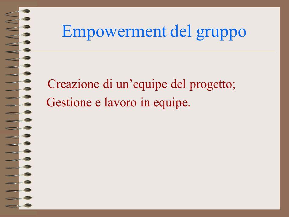 Empowerment del gruppo Creazione di unequipe del progetto; Gestione e lavoro in equipe.