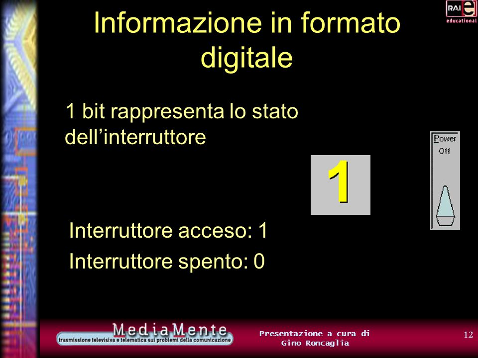 11 Presentazione a cura di Gino Roncaglia Informazione in formato digitale Unità di misura dellinformazione Corrisponde alla quantità di informazione