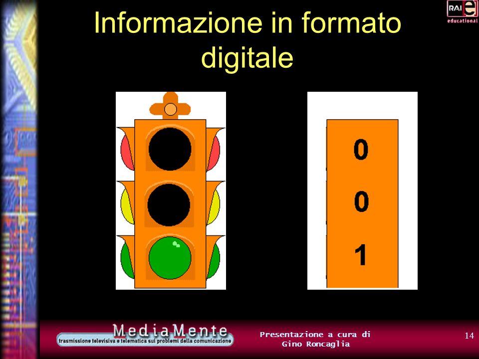 13 Presentazione a cura di Gino Roncaglia Informazione in formato digitale E se abbiamo a che fare con una scelta fra più di due alternative? Useremo