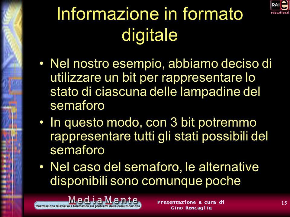 14 Presentazione a cura di Gino Roncaglia Informazione in formato digitale