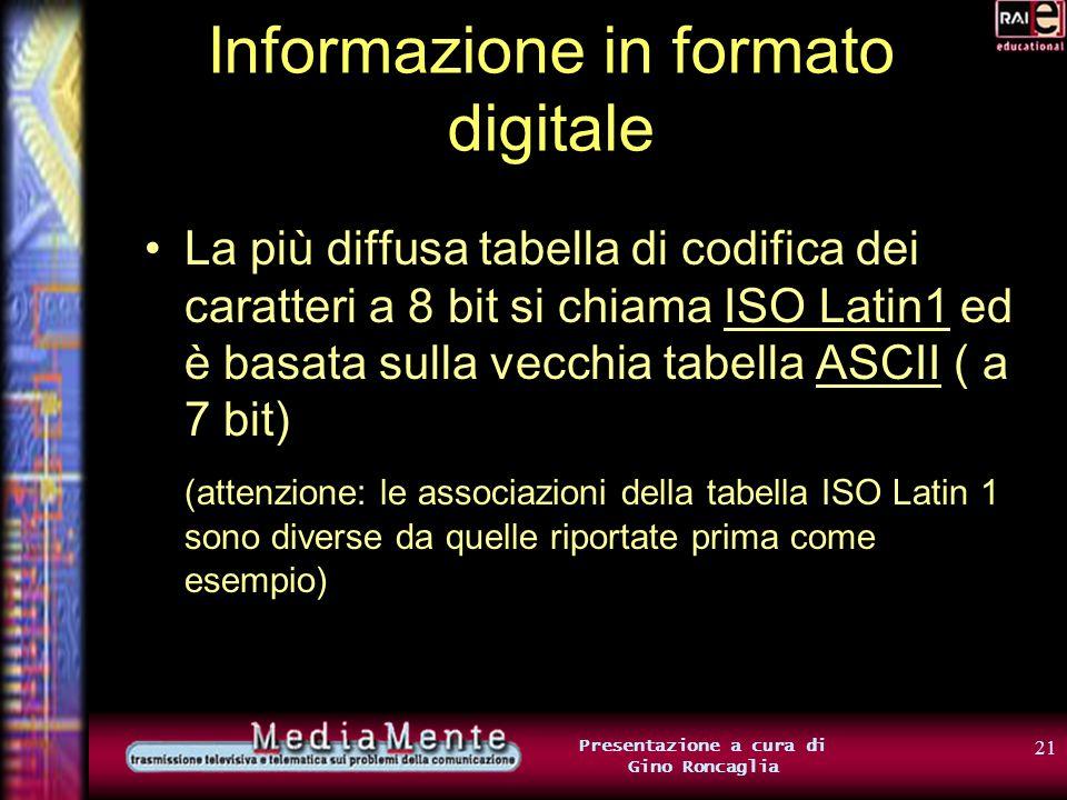 20 Presentazione a cura di Gino Roncaglia Informazione in formato digitale Costruiremo cioè una TABELLA DI CODIFICA DEI CARATTERI che associ caratteri alfanumerici a gruppi di 8 bit