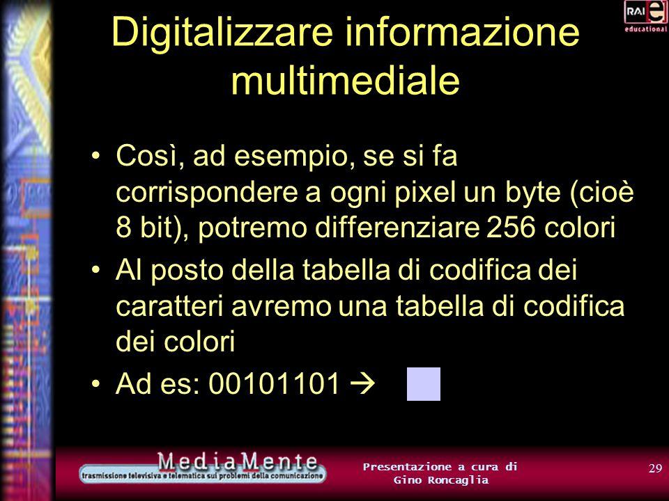 28 Presentazione a cura di Gino Roncaglia Digitalizzare informazione multimediale Ogni pixel dellimmagine viene codificato usando gruppi di 0 e 1 Se l