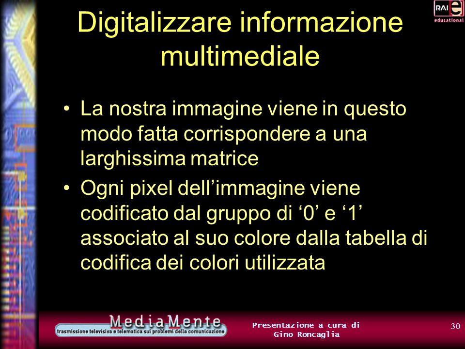 29 Presentazione a cura di Gino Roncaglia Digitalizzare informazione multimediale Così, ad esempio, se si fa corrispondere a ogni pixel un byte (cioè