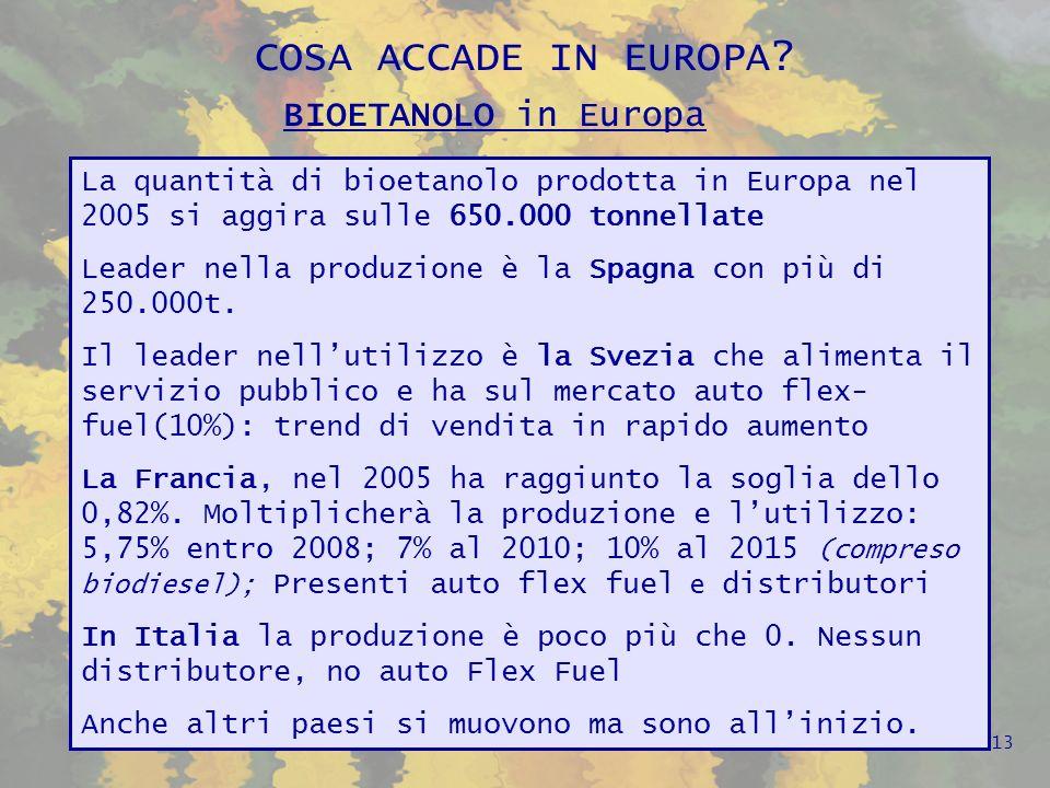 Fonte EurObserver 2005 14 BIOETANOLO in Europa LEuropa a 25 produce circa il 10% del totale mondiale che è stato di circa 6 mil.