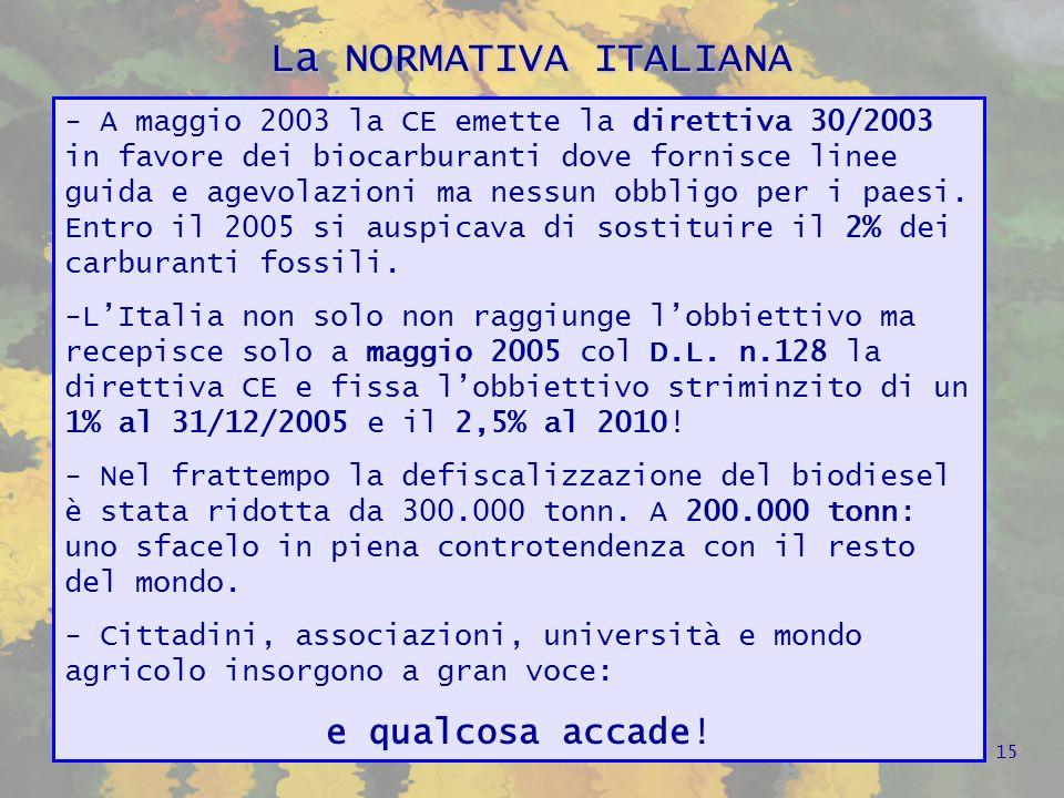 La NORMATIVA ITALIANA -A febbraio 2006 si introduce nel nuovo decreto sullagricoltura, lOBBLIGO per i produttori di carburante di immettere al consumo, dal 1° luglio 2006, almeno l1% di combustibile vegetale.