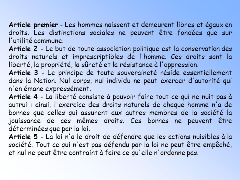 Préambule : Les représentants du peuple français, constitués en Assemblée nationale, considérant que l'ignorance, l'oubli ou le mépris des droits de l