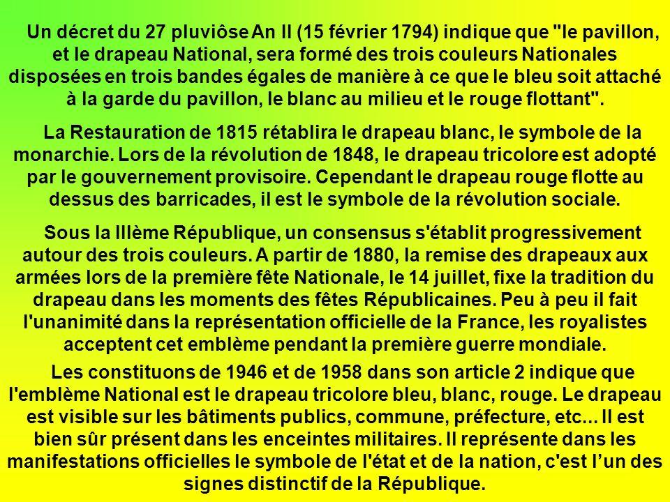 Les rois de France ont porté les trois couleurs du drapeau tricolore de façon distincte. La bannière bleue flottant au vent pour le couronnement de Ch