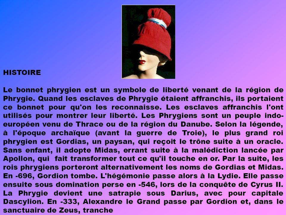 LÉGENDE Chez les Grecs et les Romains, le bonnet était signe de l'affranchissement car l'esclave allait tête nue. De couleur rouge, il devient en vogu