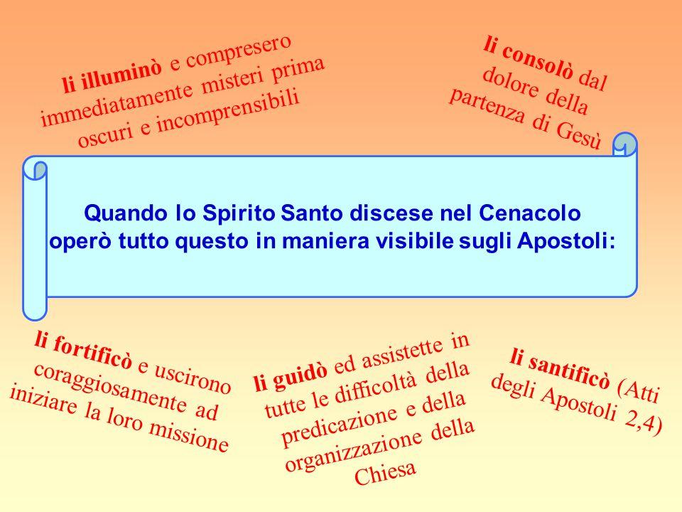 LO SPIRITO SANTO COMPLETA LOPERA DI GESÙ Gesù promise molte volte agli Apostoli lo Spirito Santo e in particolare nel momento nel quale stava per lasc