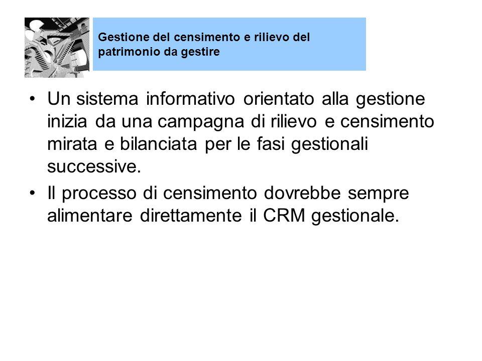 Un sistema informativo orientato alla gestione inizia da una campagna di rilievo e censimento mirata e bilanciata per le fasi gestionali successive.